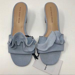 Who What Wear Women's 6M Blue Zadie Ruffle Slides